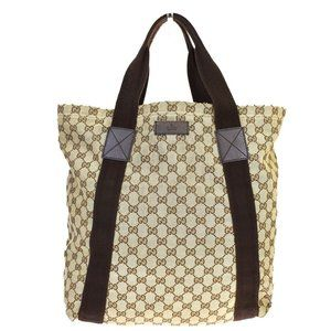 GUCCI GG Pattern Hand Tote Bag Canvas Leather Brow